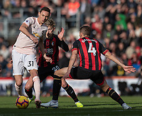 Manchester United's Nemanja Matic (left)  under pressure from Bournemouth's David Brooks &amp; Bournemouth's Dan Gosling <br /> <br /> Photographer David Horton/CameraSport<br /> <br /> The Premier League - Bournemouth v Manchester United - Saturday 3rd November 2018 - Vitality Stadium - Bournemouth<br /> <br /> World Copyright &copy; 2018 CameraSport. All rights reserved. 43 Linden Ave. Countesthorpe. Leicester. England. LE8 5PG - Tel: +44 (0) 116 277 4147 - admin@camerasport.com - www.camerasport.com