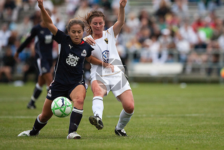 August 30 2009    WPS All Star player Brittany Klein (5, left) battles Swedish Umeå IK player Elin Landstrom (6, right) in second half action.    The Women's Professional Soccer league held their inaugural All Star Game on August 30, 2009 at the Anheuser Busch Soccer Park in Fenton, Missouri.  The Swedish women's professional soccer team Umeå IK competed against the WPS All Stars.  The WPS All Stars won the game, 4-2. ..            *******EDITORIAL USE ONLY*******