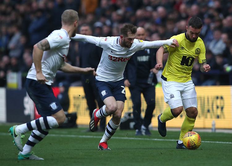 Preston North End's Tom Barkhuizen and Blackburn Rovers' Adam Armstrong<br /> <br /> Photographer Rachel Holborn/CameraSport<br /> <br /> The EFL Sky Bet Championship - Preston North End v Blackburn Rovers - Saturday 24th November 2018 - Deepdale Stadium - Preston<br /> <br /> World Copyright © 2018 CameraSport. All rights reserved. 43 Linden Ave. Countesthorpe. Leicester. England. LE8 5PG - Tel: +44 (0) 116 277 4147 - admin@camerasport.com - www.camerasport.com