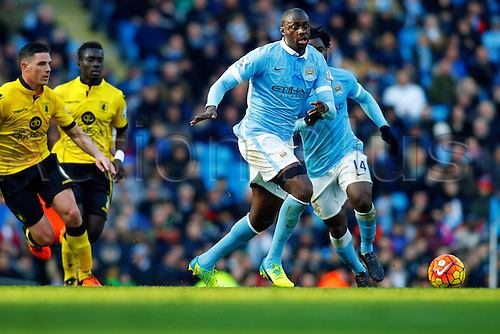 05.03.2016. The Etihad, Manchester, England. Barclays Premier League. Manchester City versus Aston Villa. Yaya Toure of Manchester City runs with the ball