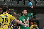 G&ouml;ppingens Jens Sch&ouml;ngarth (Nr.33)gegen Rhein Neckar Loewe Filip Taleski (Nr.28)  beim Spiel in der Handball Bundesliga, Rhein Neckar Loewen - FRISCH AUF! Goeppingen.<br /> <br /> Foto &copy; PIX-Sportfotos *** Foto ist honorarpflichtig! *** Auf Anfrage in hoeherer Qualitaet/Aufloesung. Belegexemplar erbeten. Veroeffentlichung ausschliesslich fuer journalistisch-publizistische Zwecke. For editorial use only.
