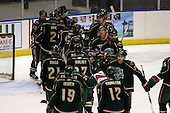 February 24th 2008:  The Houston Aeros celebrate a 4-0 win vs. the Rochester Amerks at Blue Cross Arena at the War Memorial in Rochester, NY.  The Aeros defeated the Amerks 4-0.   Photo copyright Mike Janes Photography 2008