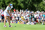 DES MOINES, IA - AUGUST 19: USA's Paula Creamer rolls her eagle putt to the cup on the 4th hole of their afternoon four-ball match Saturday at the 2017 Solheim Cup in Des Moines, IA. (Photo by Dave Eggen/Inertia)
