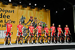 Cofidis on stage at the Team Presentations for the 105th Tour de France 2018 held on Napoleon Square in La Roche-sur-Yon, France. 5th July 2018. <br /> Picture: ASO/Bruno Bade | Cyclefile<br /> All photos usage must carry mandatory copyright credit (&copy; Cyclefile | ASO/Bruno Bade)