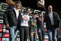 Women's Elite Podium with:<br /> <br /> 1. Maud Kaptheijns (NED/Crelan Charles)<br /> 2. Nikki Brammeier (GBR/Boels Dolmans)<br /> 3. Sophie De Boer (NED/Breepark)<br /> <br /> cx Telenet Superprestige Gieten 2017 (NED)