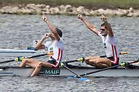 Sarasota. Florida USA. FRA LM4X. celebrate   winning the A Final at the 2017 World Rowing Championships, Nathan Benderson Park<br /> <br /> Friday  29.09.17   <br /> <br /> [Mandatory Credit. Peter SPURRIER/Intersport Images].<br /> <br /> <br /> NIKON CORPORATION -  NIKON D500  lens  VR 500mm f/4G IF-ED mm. 200 ISO 1/800/sec. f 8