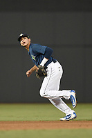 Shortstop Edgardo Fermin (10) of the Columbia Fireflies plays defense in a game against the Charleston RiverDogs on Monday, August 27, 2018, at Spirit Communications Park in Columbia, South Carolina. Charleston won, 4-0. (Tom Priddy/Four Seam Images)
