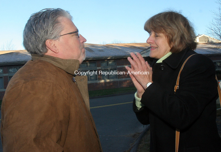 PROSPECT, CT-07 November 2012-110612TK02- (left to right) At the Prospect Fire House voting location, State Rep. Vicki O Nardello, D-Prospect, is greeted by campaign supporter John Hurley.( Tom Kabelka Republican-American