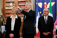 Roberta Pinotti, Bruno La Maire, Pier Carlo Padoan<br /> Roma 01/02/2018. Incontro di lavoro sul progetto di cooperazione industriale nel settore navale militare (Fincantieri Naval Group).<br /> Rome February1st 2018. Meeting on the project of cooperation between Italy and France in the naval- military sector (Fincantieri and Naval Group).<br /> Foto Samantha Zucchi Insidefoto