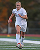 Garden City No. 12 Chloe Stapleford moves the ball downfield during the first half of a Nassau County varsity girls' soccer Class A semifinal against Island Trees at Cold Spring Harbor High School on Friday, October 30, 2015. She scored a goal in the second minute of play in Garden City's 2-0 win.<br /> <br /> James Escher