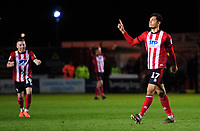 Lincoln City's Tyler Walker celebrates scoring his side's second goal<br /> <br /> Photographer Chris Vaughan/CameraSport<br /> <br /> The EFL Sky Bet League One - Lincoln City v Bolton Wanderers - Tuesday 14th January 2020  - LNER Stadium - Lincoln<br /> <br /> World Copyright © 2020 CameraSport. All rights reserved. 43 Linden Ave. Countesthorpe. Leicester. England. LE8 5PG - Tel: +44 (0) 116 277 4147 - admin@camerasport.com - www.camerasport.com