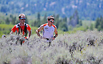 August 20, 2016 - Leadville, Colorado, U.S. -  Second place finisher, Max King #5, and his pacer wind through the sage brush near the Twin Lakes during the Blueprint for Athletes Leadville Trail 100, Leadville, Colorado.  Considered one of the most challenging endurance races in the world, ultra distance runners will navigate high altitude trails, challenging river crossings, and a variety of changing weather with an elevation gain of more than 18,000 feet ranging from 9200 feet near Twin Lakes to 12,600 feet atop the high point of Hope Pass.