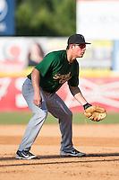Savannah Sand Gnats third baseman Eudor Garcia (28) on defense against the Hickory Crawdads at L.P. Frans Stadium on June 14, 2015 in Hickory, North Carolina.  The Crawdads defeated the Sand Gnats 8-1.  (Brian Westerholt/Four Seam Images)