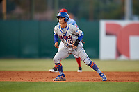 St. Lucie Mets shortstop Andres Gimenez (12) leads off second base during a game against the Florida Fire Frogs on April 19, 2018 at Osceola County Stadium in Kissimmee, Florida.  St. Lucie defeated Florida 3-2.  (Mike Janes/Four Seam Images)