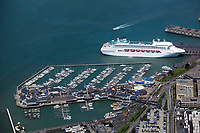 aerial photograph cruise ship docked at Pier 39 San Francisco, CA adjacent to retail area