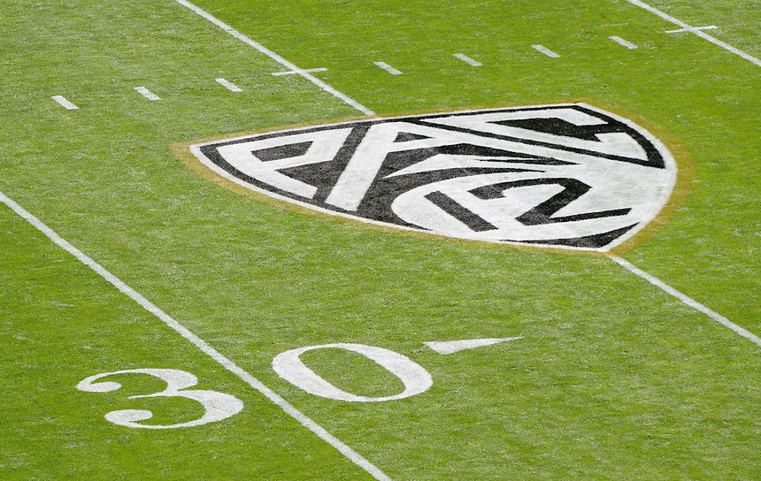 SEPTEMBER 10 2011:  The PAC 12 logo is freshly painted on Folsom Field near the 30 yard line  before a non-conference game with two PAC 12 teams between the Californa Golden Bears and the University of Colorado Buffaloes at Folsom Field in Boulder, Colorado. The Golden Bears beat the Buffaloes 36-33 in overtime.  *****For editorial use only*****