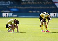 18th July 2020; The Kiyan Prince Foundation Stadium, London, England; English Championship Football, Queen Park Rangers versus Millwall; Jon Daoi Boovarsson of Millwall and Jake Cooper of Millwall exhausted after full time