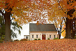 Saltbox style home in autumn. Middlesex County, CT.