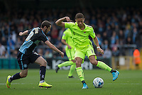 Michael Harriman of Wycombe Wanderers & Jake Carroll of Hartlepool United battle for the ball during the Sky Bet League 2 match between Wycombe Wanderers and Hartlepool United at Adams Park, High Wycombe, England on 5 September 2015. Photo by Andy Rowland.