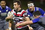 Joe Reynolds treis to evade Ryan Crotty. The game of Three Halves, a pre-season warm-up game between the Counties Manukau Steelers, Northland and the All Blacks, played at ECOLight Stadium, Pukekohe, on Friday August 12th 2016. Photo by Richard Spranger.