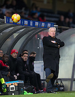 Crawley Town Manager Dermot Drummy kicks the ball away during the Sky Bet League 2 match between Wycombe Wanderers and Crawley Town at Adams Park, High Wycombe, England on 25 February 2017. Photo by Andy Rowland / PRiME Media Images.