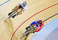 19 FEB 2012 - LONDON, GBR - Great Britain's Sir Chris Hoy (GBR) (on the right in blue and red) leads Germany's Maximilian Levy (GER)) during the Men's Sprint final at the UCI Track Cycling World Cup and London Prepares test event for the 2012 Olympic Games in the Olympic Park Velodrome in Stratford, London, Great Britain .(PHOTO (C) 2012 NIGEL FARROW)