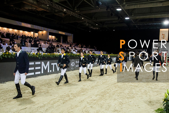 Riders and jockeys compete in the HKJC Race Of The Riders during the Longines Masters of Hong Kong at the Asia World Expo on 09 February 2018, in Hong Kong, Hong Kong. Photo by Ian Walton / Power Sport Images