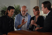 Rupert Graves, Frank Oz (Director), Keeley Hawes, Matthew Macfadyen<br /> on the set of Death at a Funeral (2007) <br /> *Filmstill - Editorial Use Only*<br /> CAP/NFS<br /> Image supplied by Capital Pictures