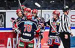 S&ouml;dert&auml;lje 2013-12-12 Ishockey Hockeyallsvenskan S&ouml;dert&auml;lje SK - Mora IK :  <br /> S&ouml;dert&auml;lje 14 Robert Carlsson jublar med lagkamrater efter att ha kvitterat till 2-2 i slutet av matchen<br /> (Foto: Kenta J&ouml;nsson) Nyckelord:  jubel gl&auml;dje lycka glad happy