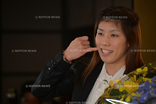 """October 23, 2012, Tokyo, Japan - Saori Yoshida, Japan's three-time Olympic wrestling champion, poses for photographers following a news conference in Tokyo on Tuesday, October 23, 2012. Japanese government decided to bestow the People's Honor Award on her for """"bringing hope and courage to society."""" Yoshida,30, won a total of 13 Olympic and world titles in women's wrestling.  (Photo by Natsuki Sakai/AFLO) AYF -mis-"""