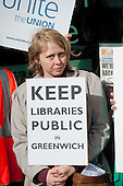Picket of the Woolwich Centre on the first day of a Unite official strike by Greenwich library workers over plans to contract out the service to GLL, a social enterprise.