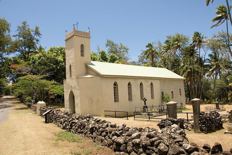 Hawaii: Molokai, church and gravesite at Kalawao of leper priest, Father Damien de Veuster.Photo himolo169-71899..Photo copyright Lee Foster, www.fostertravel.com, lee@fostertravel.com, 510-549-2202