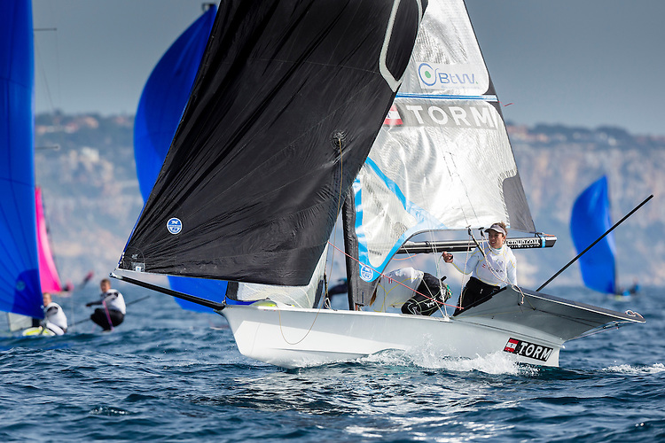 20140331, Palma de Mallorca, Spain: SOFIA TROPHY 2014 - 850 sailors from 50 countries compete at the ISAF Sailing World Cup event. 49erFX - DEN11 - Ida Marie Baad Nielsen / Marie Thusgaard Olsen. Photo: Mick Anderson/SAILINGPIX.