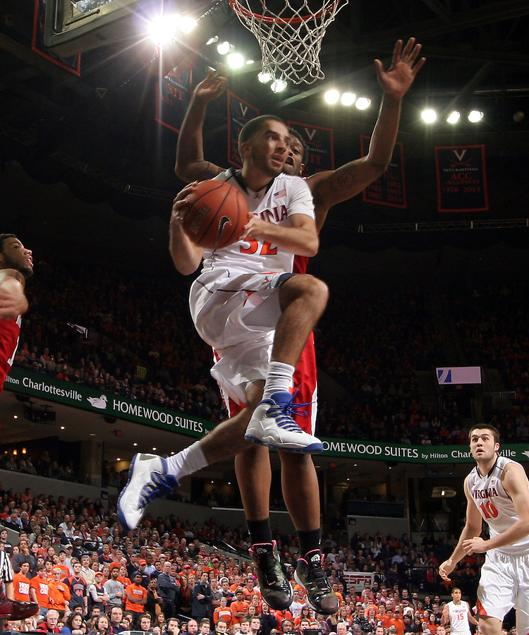 Virginia guard London Perrantes during the game Jan. 7, 2015, in Charlottesville, Va. Virginia defeated NC State  61-51.