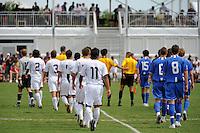 The USA U-17 and the Academy Select Team take the field for introductions. The US U-17 Men's National Team defeated the Development Academy Select Team 5-3 during day two of the US Soccer Development Academy  Spring Showcase in Sarasota, FL, on May 23, 2009.
