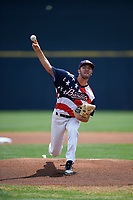 Quad Cities River Bandits starting pitcher Peter Solomon (18) delivers a pitch during a game against the West Michigan Whitecaps on July 23, 2018 at Modern Woodmen Park in Davenport, Iowa.  Quad Cities defeated West Michigan 7-4.  (Mike Janes/Four Seam Images)