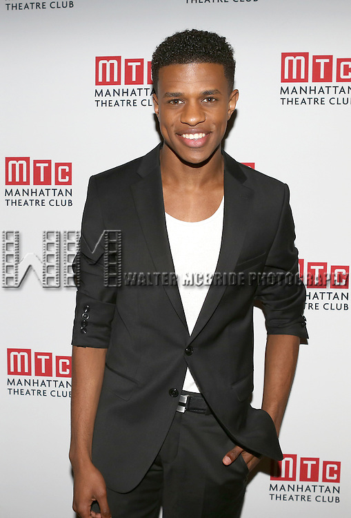 Jeremy Pope attending the Opening Night Celebration for the MTC American Premiere of 'Choir Boy' at Inside Park at St. Bart's on July 2, 2013 in New York City.