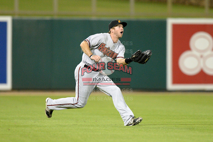 Salt River Rafters outfielder Mike Freeman (1), of the Arizona Diamondbacks organization, during an Arizona Fall League game against the Glendale Desert Dogs on October 16, 2013 at Camelback Ranch in Phoenix, Arizona.  Glendale defeated Salt River 8-6.  (Mike Janes/Four Seam Images)
