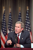 United States President George W. Bush conducts an economic roundtable discussion with business leaders in New York, New York on October 3, 2001.<br /> Mandatory Credit: Eric Draper / White House via CNP