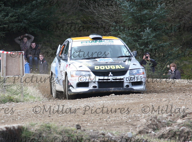 Dougal Brown / Lewis Rochford in a Mitsubishi Evolution 9 at Junction 3 on John Lawrie Group Special Stage 5 Fettersso 2 of the Coltel Granite City Rally 2012 which was based at the Thainstone Agricultural Centre, Inverurie.