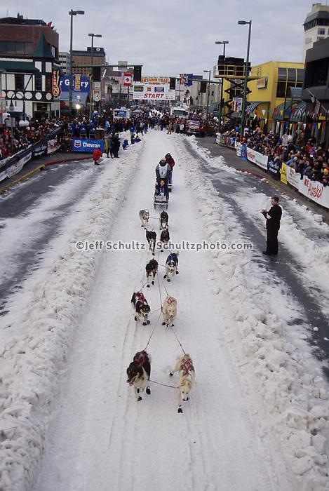 Jason Barron Leaves Start Line Iditarod 2003 Anchorage AK