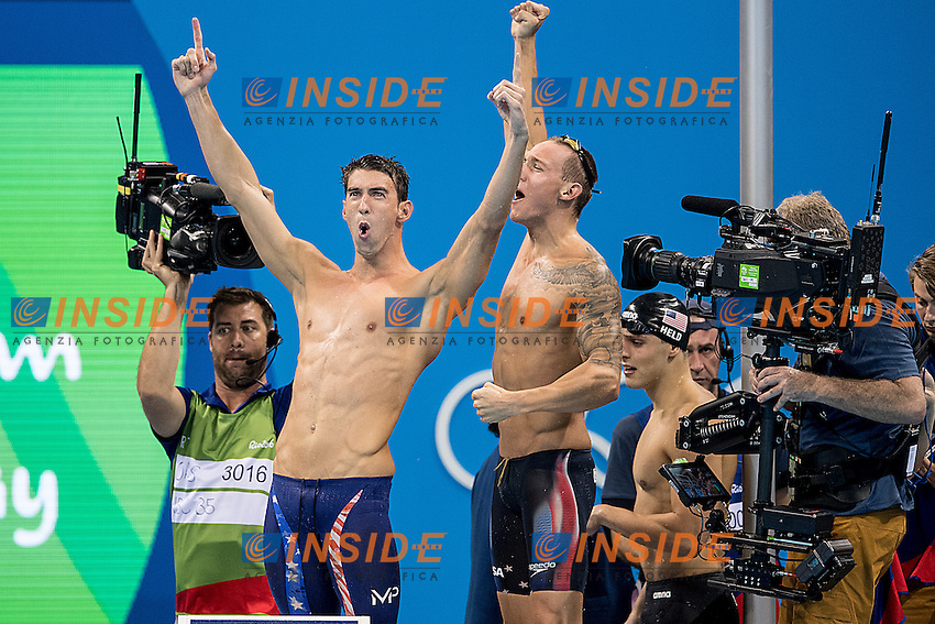 Team USA Phelps Michael and Dressel Caeleb<br /> 4x100 freestyle men<br /> Rio de JaneiroXXXI Olympic Games <br /> Olympic Aquatics Stadium <br /> Swimming finals 07/08/2016<br /> Photo Giorgio Scala/Deepbluemedia/Insidefoto