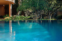 With its still 'glass like' water surface  the infinity pool mirrors the surrounding garden next to the house.