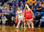 BROOKINGS, SD - FEBRUARY 22: Rylie Cascio Jensen #2 of the South Dakota State Jackrabbits looks to make a move against Madison McKeever #23 of the South Dakota Coyotes Saturday at Frost Arena in Brookings, SD. (Photo by Dave Eggen/Inertia)