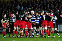 Both sets of forwards get to know each other. Aviva Premiership match, between Bath Rugby and Saracens on April 1, 2016 at the Recreation Ground in Bath, England. Photo by: Patrick Khachfe / Onside Images