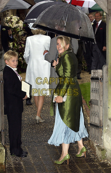 LAURA PARKER BOWLES.Tom Parker Bowles wedding to Sara Buys.ceremony in St. Nicholas Church, Henley-on-Thames .10 September 2005. Oxfordshire, England.Ref: FIN .full length umbrella green jacket .www.capitalpictures.com.sales@capitalpictures.com.©Capital Pictures.