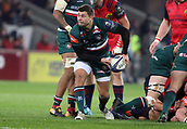 9th December 2017, Thomond Park, Limerick, Ireland; European Rugby Champions Cup, Munster versus Leicester Tigers; Ben Youngs, Leicester Tigers, makes a pass to his half back partner