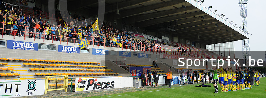Moeskroen - Westerlo :<br /> <br /> sfeerbeelden na de wedstrijd bij de supporters en spelers van Westerlo<br /> <br /> foto VDB / BART VANDENBROUCKE