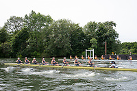 "Henley on Thames, United Kingdom, 23rd June 2018, Saturday,   ""Henley Women's Regatta"",  view, A heat of the Women's Championship Eights, Near, ""Yale University, USA [B]"" Crew racing against, ""Iowa University, USA"",  Henley Reach, River Thames, England, © Peter SPURRIER"