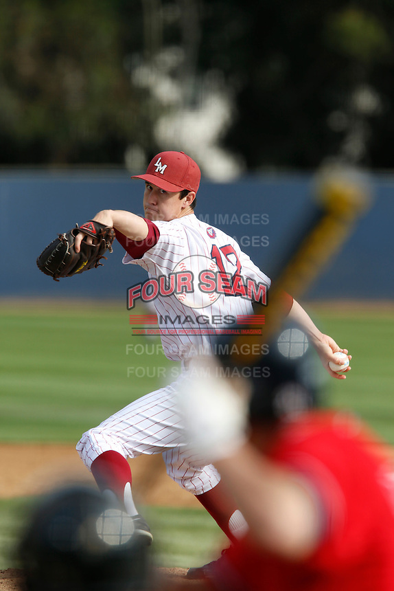 Colin Welmon #12 of the Loyola Marymount Lions pitches against the Gonzaga Bulldogs at Page Stadium on March 28, 2013 in Los Angeles, California. (Larry Goren/Four Seam Images)